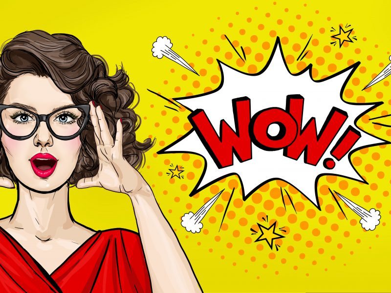Surprised Pop Art woman in hipster glasses. Advertising poster or party invitation with sexy club girl with open mouth in comic style. Presenting your product. Expressive facial expressions